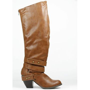 Qupid Priority-32 Strappy Knee High Boot,Cognac Distress Pu,8.5