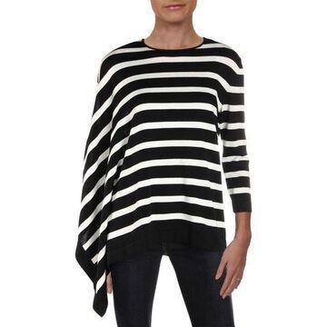 Anne Klein Womens Striped Asymmetric Pullover Sweater