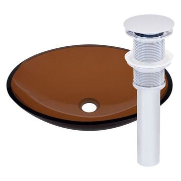 Abbronzarsi Glass Vessel Sink and Drain, Chrome