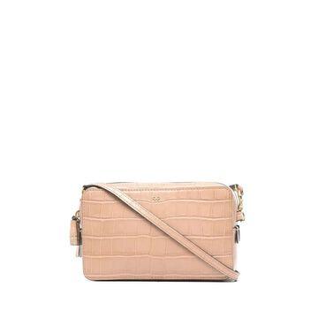 croco-embossed clutch bag