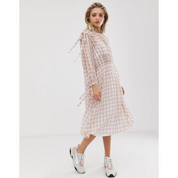 ASOS WHITE gingham ruched waist dress-Pink