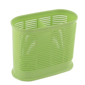 Unique Bargains Plastic 2 Compartments Cutlery Spoon Chopsticks Holder Stand Organizer Green