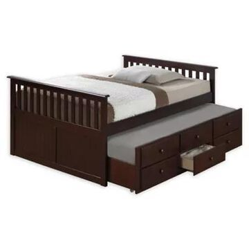Storkcraft Kids Marco Island Full Captain's Bed With Trundle And Drawers In Espresso
