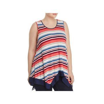 Cupio Womens Plus Tank Top Striped Sleeveless