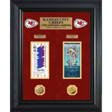 Highland Mint Kansas City Chiefs 2-Time Super Bowl Champions 22'' x 18'' Deluxe Gold Coin & Ticket Collection
