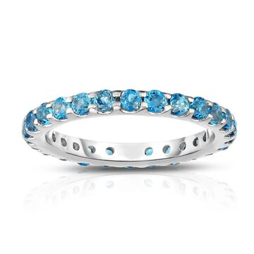 Noray Designs 14K White Gold London Blue Topaz Eternity Ring (1.35 cttw)