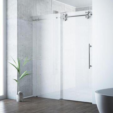 VIGO Elan 74-in H x 56-in to 60-in W Frameless Sliding Stainless steel Shower Door (Frosted/Patterned Glass) | VG6041STMT6074R
