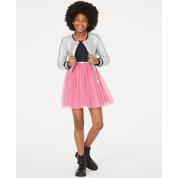 Big Girls Quilted Bomber Jacket & Belted Skater Dress Set