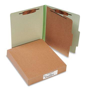 Acco Pressboard 25-Pt Classification Folders Letter 4-Section Leaf Green 10/Box