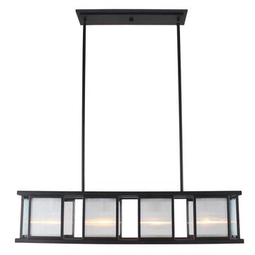 Eglo Henessy 4-Light Linear Pendant W/ Black and Brushed Nickel Finish (Black)