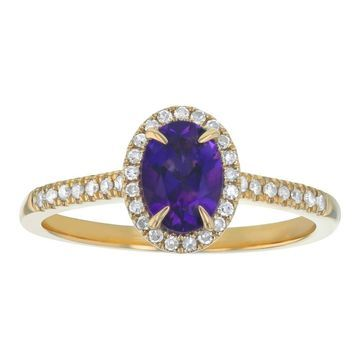 10k Yellow Gold 7/8 ct. Diamonds and Oval Amethyst Halo Ring by Beverly Hills Charm