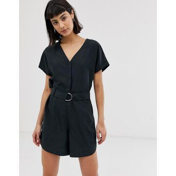 Weekday V-neck romper with waist belt in black