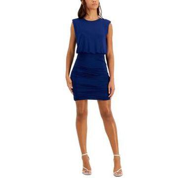 Bar Iii Solid Shirred Mini Dress, Created for Macy's