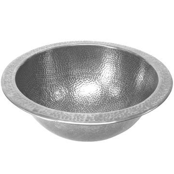HOUZER Hammerwerks Pewter Copper Drop-In Round Bathroom Sink with Overflow Drain (16.75-in x 16.75-in) in Silver