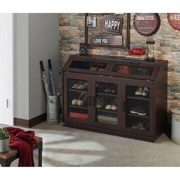 Furniture of America Geno Traditional Walnut Shoe Cabinet