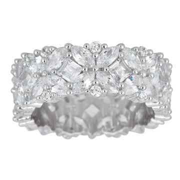 Decadence Sterling Silver Fancy Multi-cut Cubic Zirconia Eternity Ring