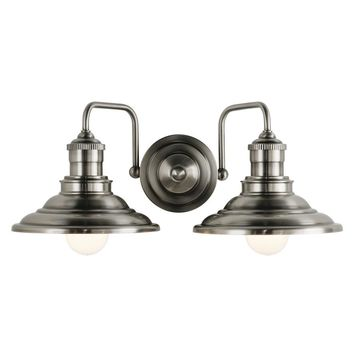 allen + roth Hainsbrook 2-Light 17.99-in Antique pewter Cone Vanity Light