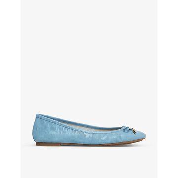 Dune Womens Blue-leather Harpar 2 Embossed Ballet Pumps 5