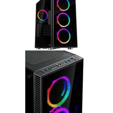 Rosewill ATX Mid Tower Gaming PC Computer Case 3 Sided Tempered Glass Dual Ri...