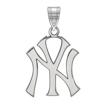LogoArt Sterling Silver New York Yankees Pendant, Women's, Size: 25 mm