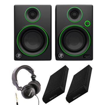 Mackie CR3 Multimedia Monitors with Studio Headphones and Gear Isolation Pads