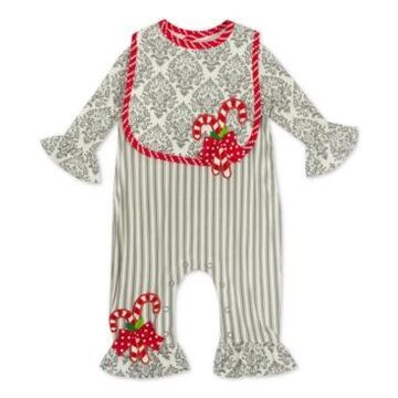 Rare Editions Baby Girls Candy Cane Jumpsuit & Bib Set