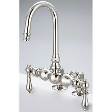 Water Creation Vintage Classic Polished Nickel 3 3/8-inch Center Deck Mount Tub Faucet with Gooseneck Spout and 2-inch Risers