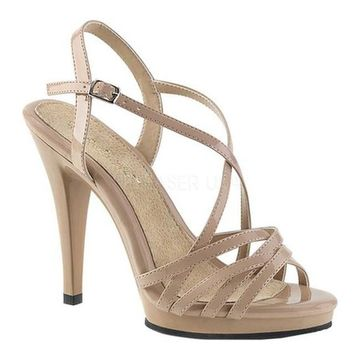 Fabulicious Women's Flair 413 Criss-Cross Strappy Sandal Nude/Nude Patent