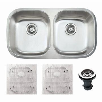 Empire 32 1/2 Inch Undermount 50/50 Double Bowl 16 Gauge Stainless Steel Kitchen Sink Set Soundproofing