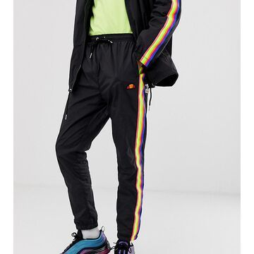 Ellesse Santi track pant with rainbow taping in black exclusive at ASOS