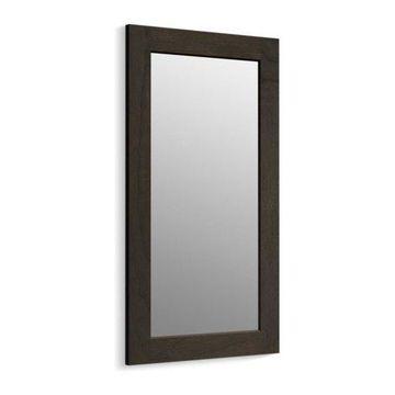 Kohler Poplin/Marabou Framed Mirror, Felt Gray