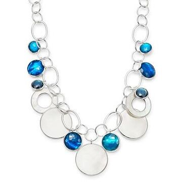 Ippolita Sterling Silver Wonderland Chain Link Necklace with Mother-of-Pearl Doublet in Blue Moon, 19.5
