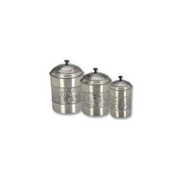 Old Dutch 411 Antique Embossed Pewter Canisters, 5.5 Qt, 4Qt, 3Qt - Set of 3