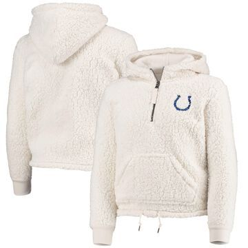5th & Ocean by New Era Indianapolis Colts Girl's Youth Cream Sherpa Pullover 1/4 Zip Hoodie Fleece