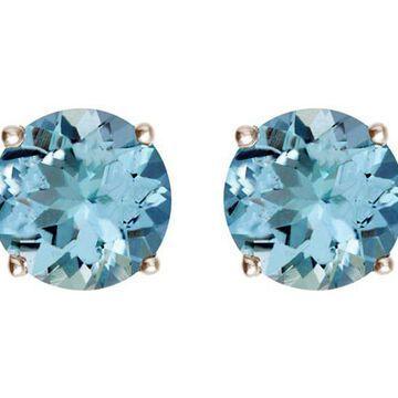 Premier 3.05 cttw Round Aquamarine Stud Earrings, 14K