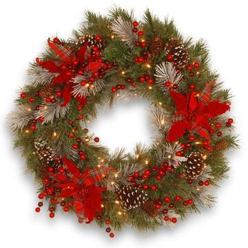 National Tree Company 24 in. Artificial Tartan Plaid Wreath