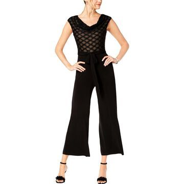 Connected Apparel Womens Petites Sleeveless Shimmer Jumpsuit