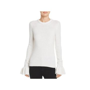 Derek Lam 10 Crosby Womens Pullover Sweater Ruffled Bell Sleeves
