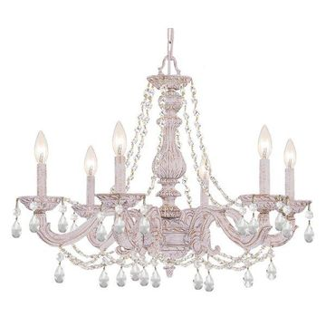 Crystorama Paris Market 6-Light Clear Element Crystal White Chandelier