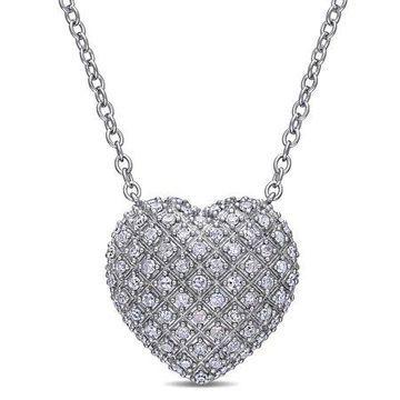 Miabella 1 Carat T.W. Diamond Sterling Silver Heart Necklace, 18