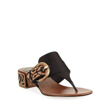 Satin Thong Sandal with Wooden Accents