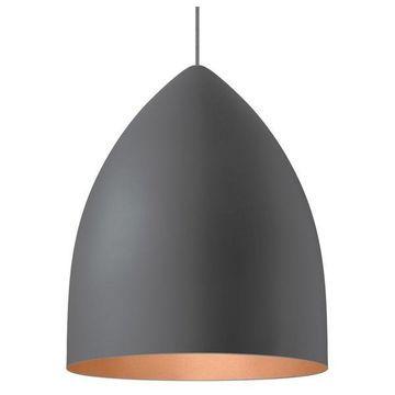 Signal Grande Rubber Gray Pendant, E26 LED A21 19W 80 CRI 2700K 120V, Copper
