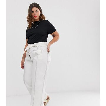 ASOS DESIGN Curve wide pants leg with tie waist and horn buttons