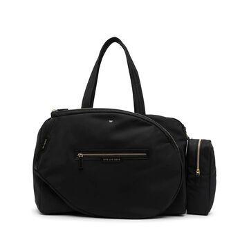 slogan-print zipped shoulder bag