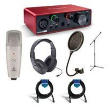 Focusrite Scarlett Solo 3rd Generation USB Interface - Bundle With, Samson SR350 Over-Ear Stereo Headphones, Behringer C-1 Condenser Mic, Samson PS04 Pop Filter, Samson Mic Stand, 2x 20' XLR Mic Cable
