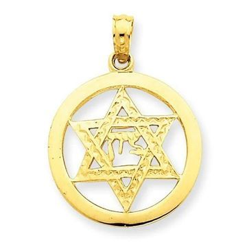14K Yellow Gold Jewish Chi in Star of David Pendant with 18-inch Cable Rope Chain by Versil (Yellow - 18 Inch)