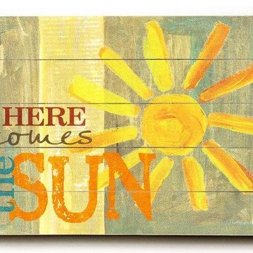 One Bella Casa 0004-3691-31 25 x 34 in. Here Comes the Sun Planked Wood Wall Decor by Misty Diller
