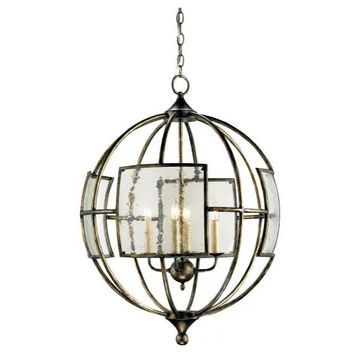 Currey and Company 9750 Broxton Orb 4 Light Chandelier - Bronze
