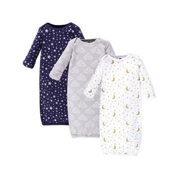 Hudson Baby Infant Gowns Navy - Navy & White Gown - Set of Three
