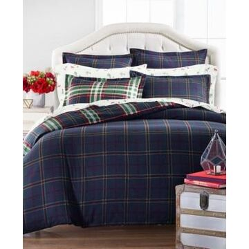 Martha Stewart Collection Midcentury Plaid Flannel Full/Queen Duvet Cover, Created for Macys
